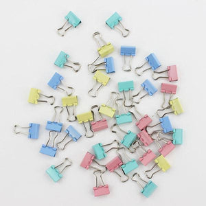 Pastel Binder Clips - Set of 60