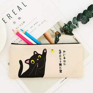 Canvas Cat Pencil Case