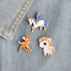 Cute Unicorn + Reindeer Pins - 3 pack