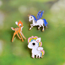 Load image into Gallery viewer, Cute Unicorn + Reindeer Pins - 3 pack