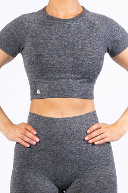 Ariana Seamless Crop Tee Charcoal
