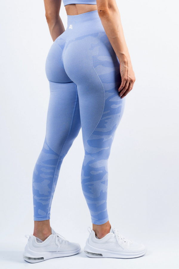 Coco Camo Scrunch Bum Leggings Blue
