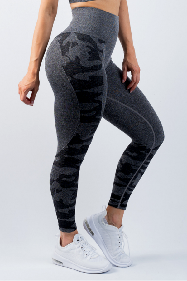 Coco Camo Scrunch Bum Leggings Charcoal