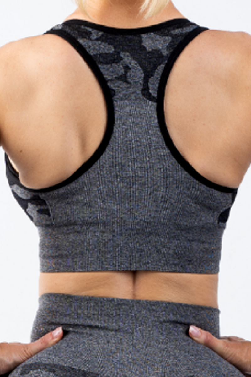 Coco Camo Sports Bra Charcoal - No Logo