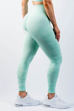 Coco Camo Scrunch Bum Leggings Mint