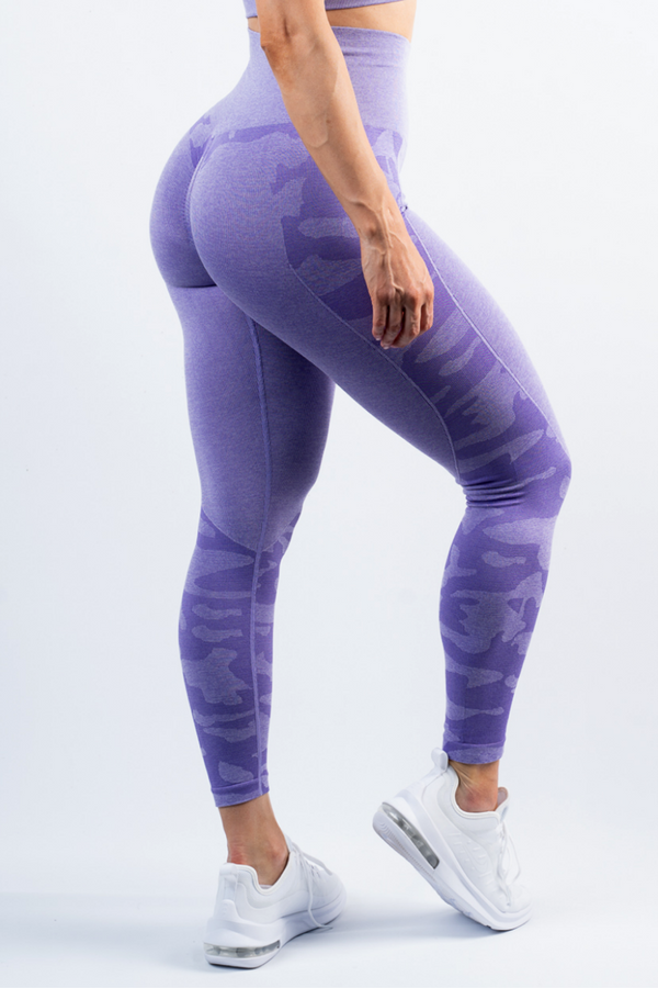 Coco Camo Scrunch Bum Leggings Purple