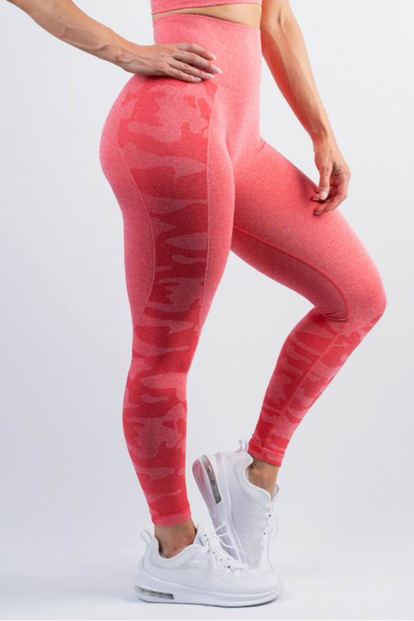 Coco Camo Scrunch Bum Leggings Watermelon