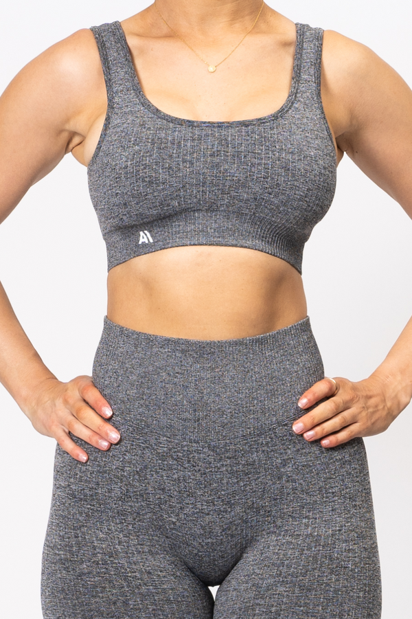 Rihanna Lux Rib Sports Bra Charcoal
