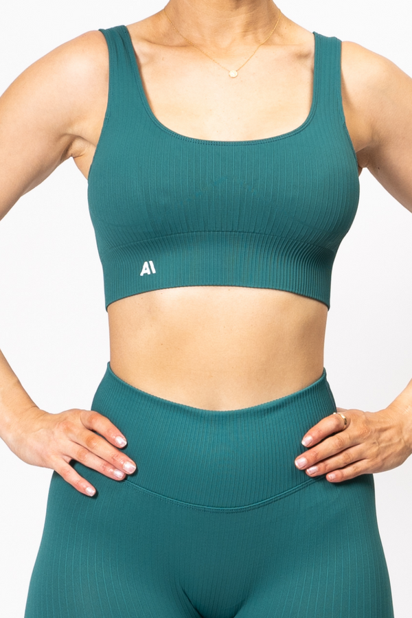 Rihanna Lux Rib Sports Bra Green
