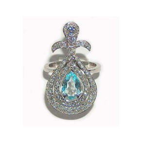Paolo Piovan White Gold Ring with Light Blue Topaz - Made in Paradise Luxury