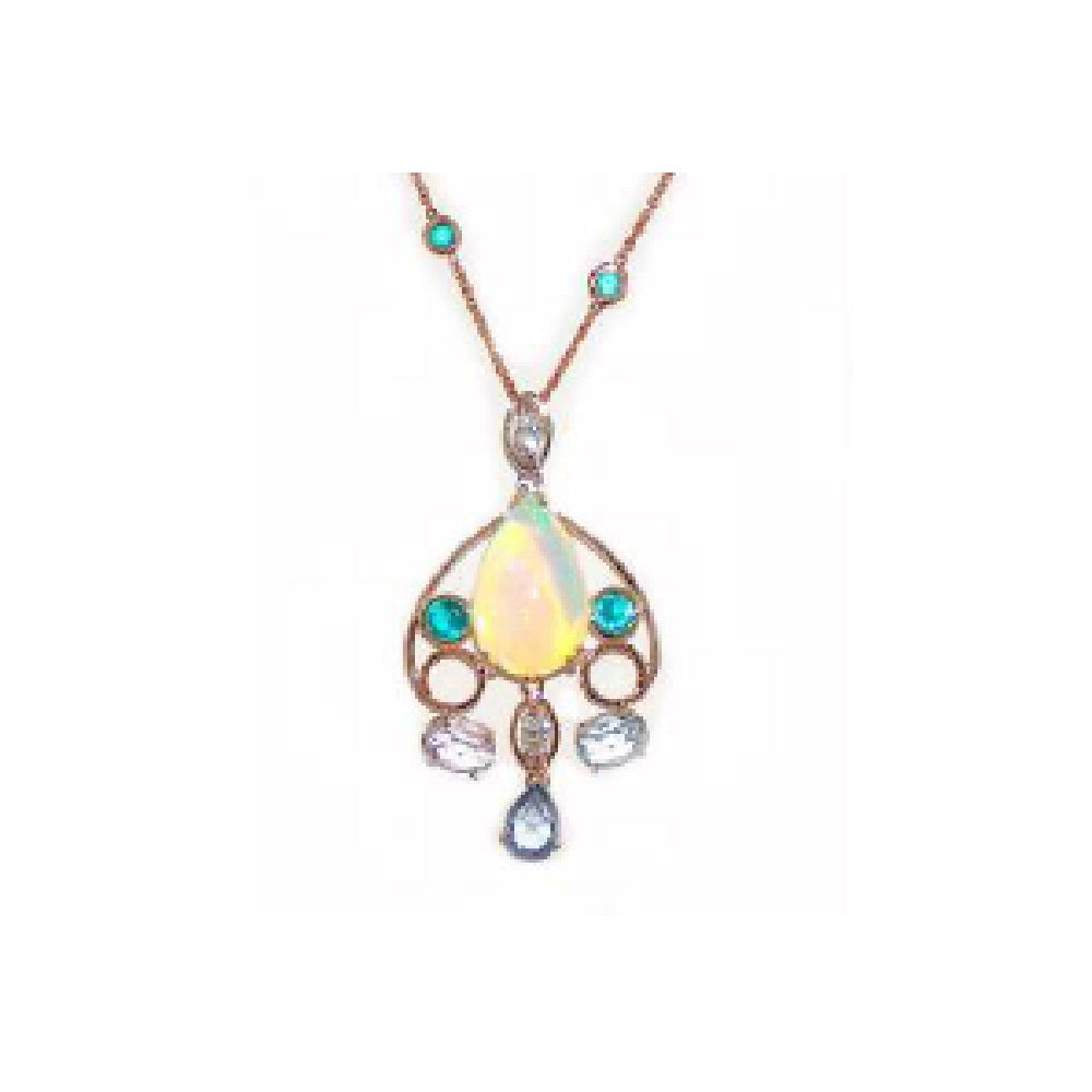 Paolo Piovan Necklace in Rose Gold with Diamonds, Natural Sapphires, Topaz Paraiba (douplet) and Opals - Made in Paradise Luxury