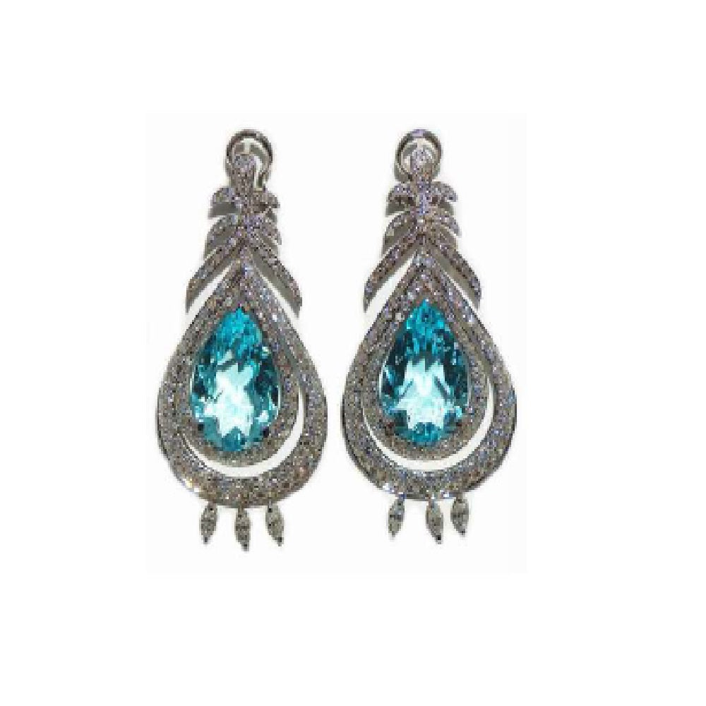 Paolo Piovan Earrings in White Gold with Diamonds and Light Blue Sapphires - Made in Paradise Luxury