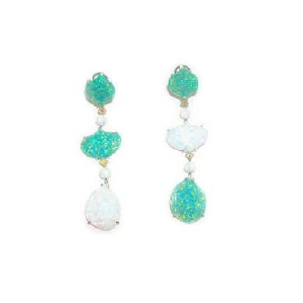 Paolo Piovan Earrings in White Gold with Diamonds, White and Green Opals - Made in Paradise Luxury