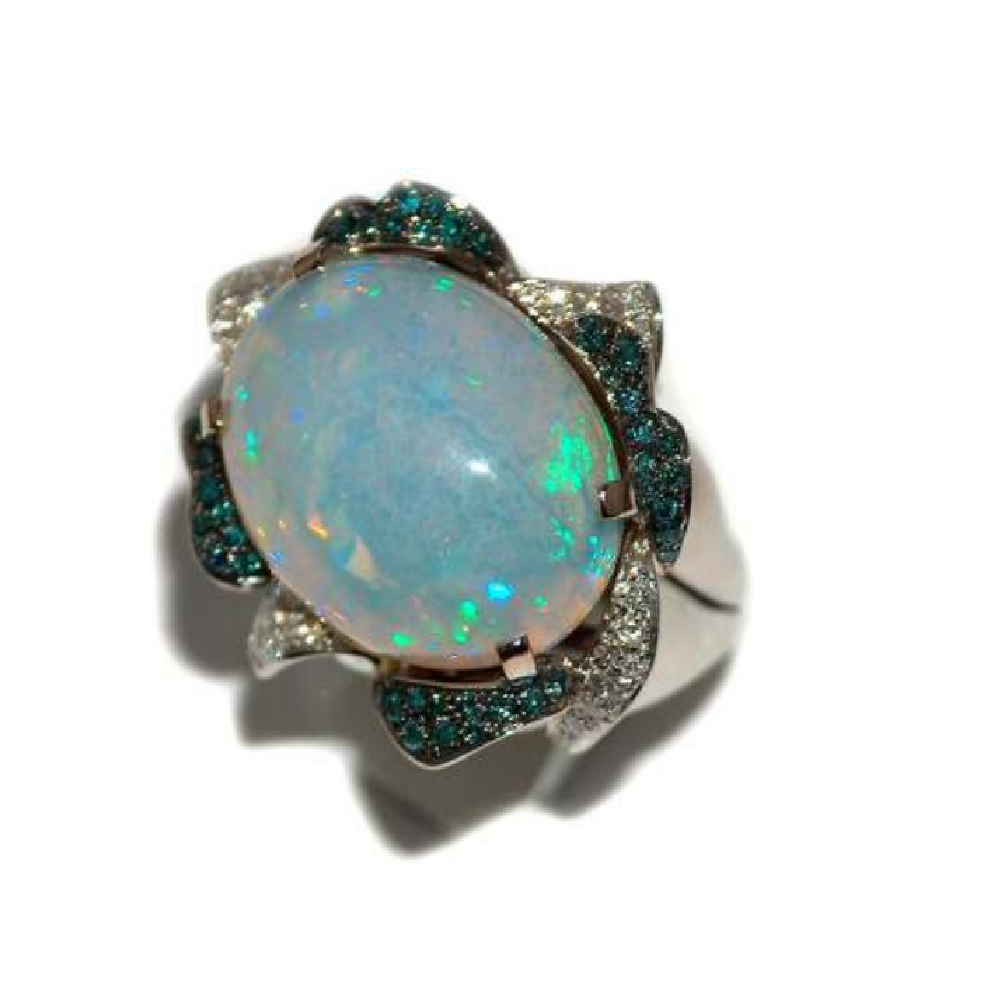 Paolo Piovan Flower Diamond Ring with Opal - Made in Paradise Luxury