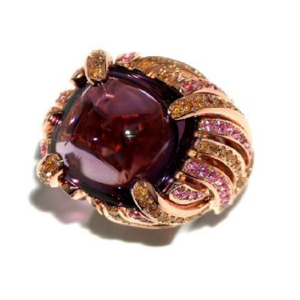 Paolo Piovan Flower Diamond Ring in Rose Gold with Amethyst - Made in Paradise Luxury
