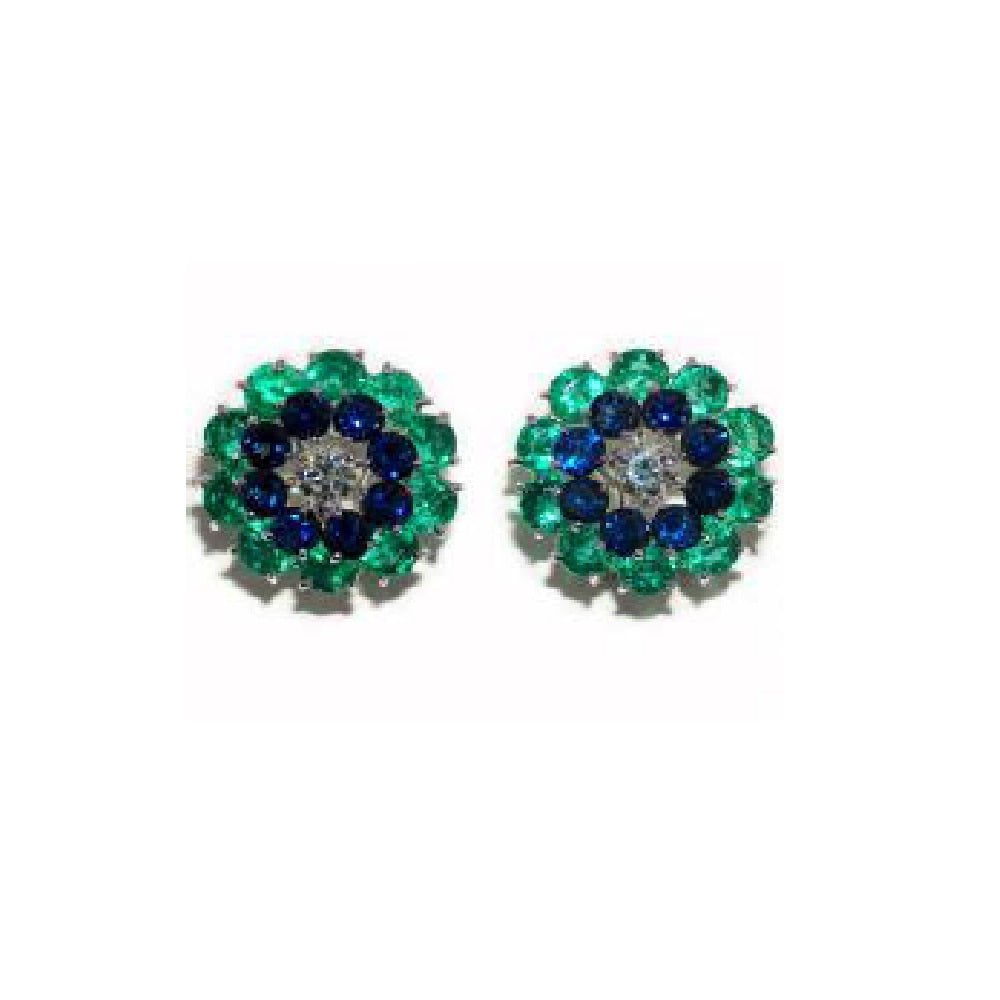 Paolo Piovan Earrings in White Gold with Diamonds (IGI Report), Natural Emeralds and Sapphires - Made in Paradise Luxury