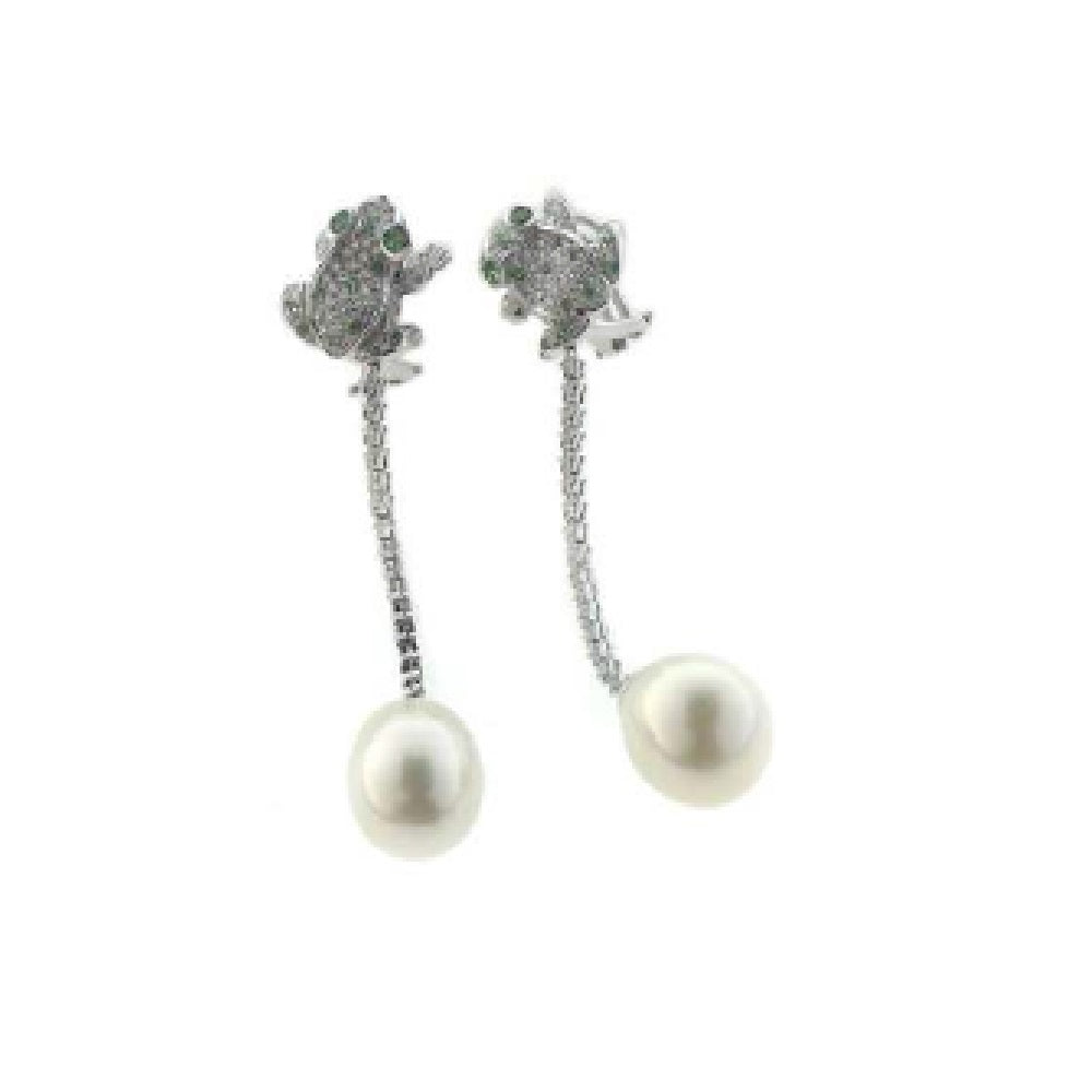 Paolo Piovan Earrings in White Gold with Diamonds, South Sea Pearls and Tsvaorite - Made in Paradise Luxury