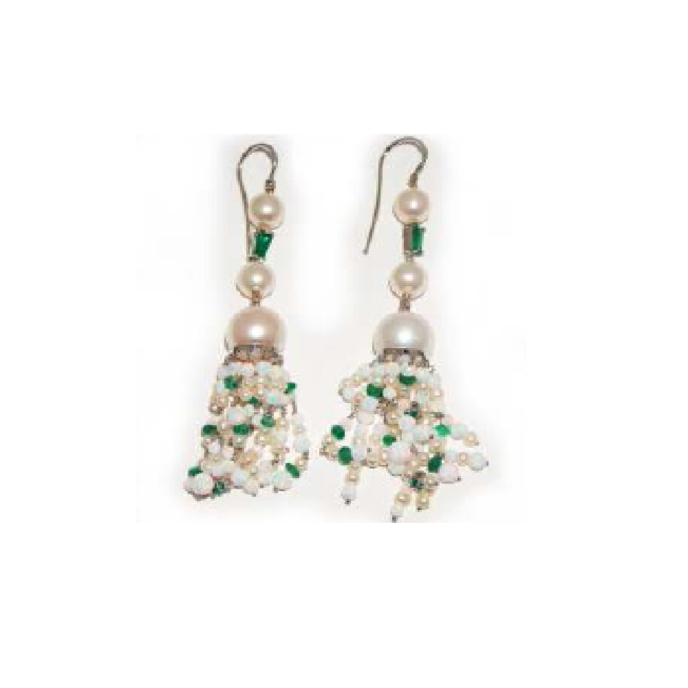 Paolo Piovan Earrings in White Gold with Diamonds, Emeralds and Opals - Made in Paradise Luxury