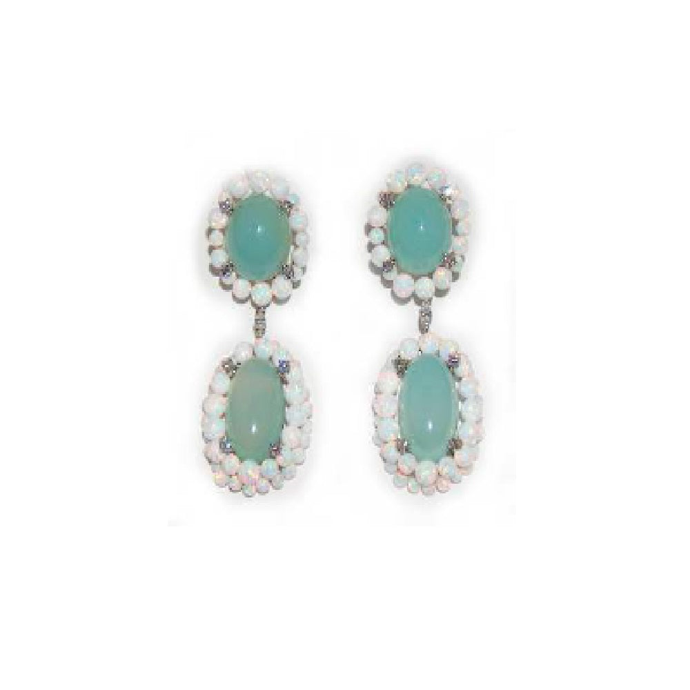 Paolo Piovan Earrings in White Gold with Diamonds, Opals and Chalcedony - Made in Paradise Luxury