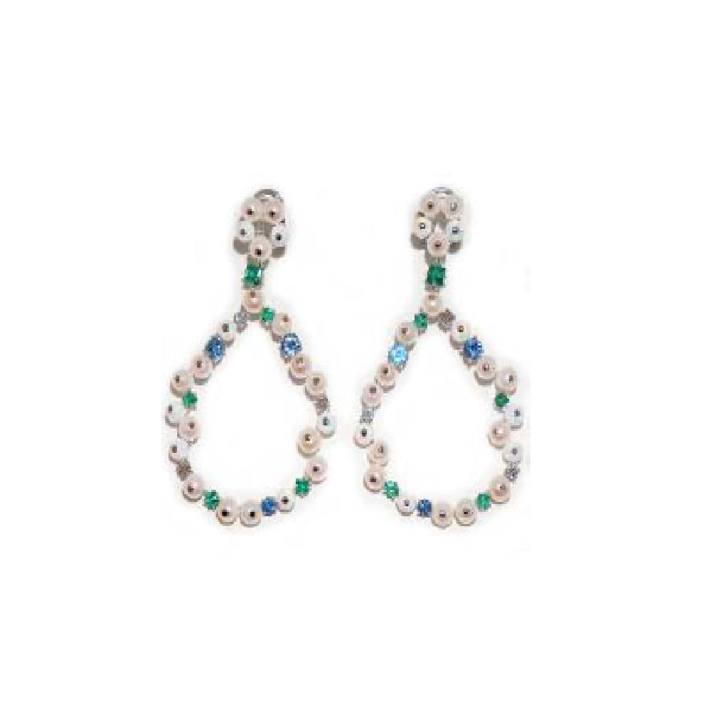 Paolo Piovan Earrings in White Gold with Diamonds, Pearls, Sapphires, Emeralds and Opals - Made in Paradise Luxury