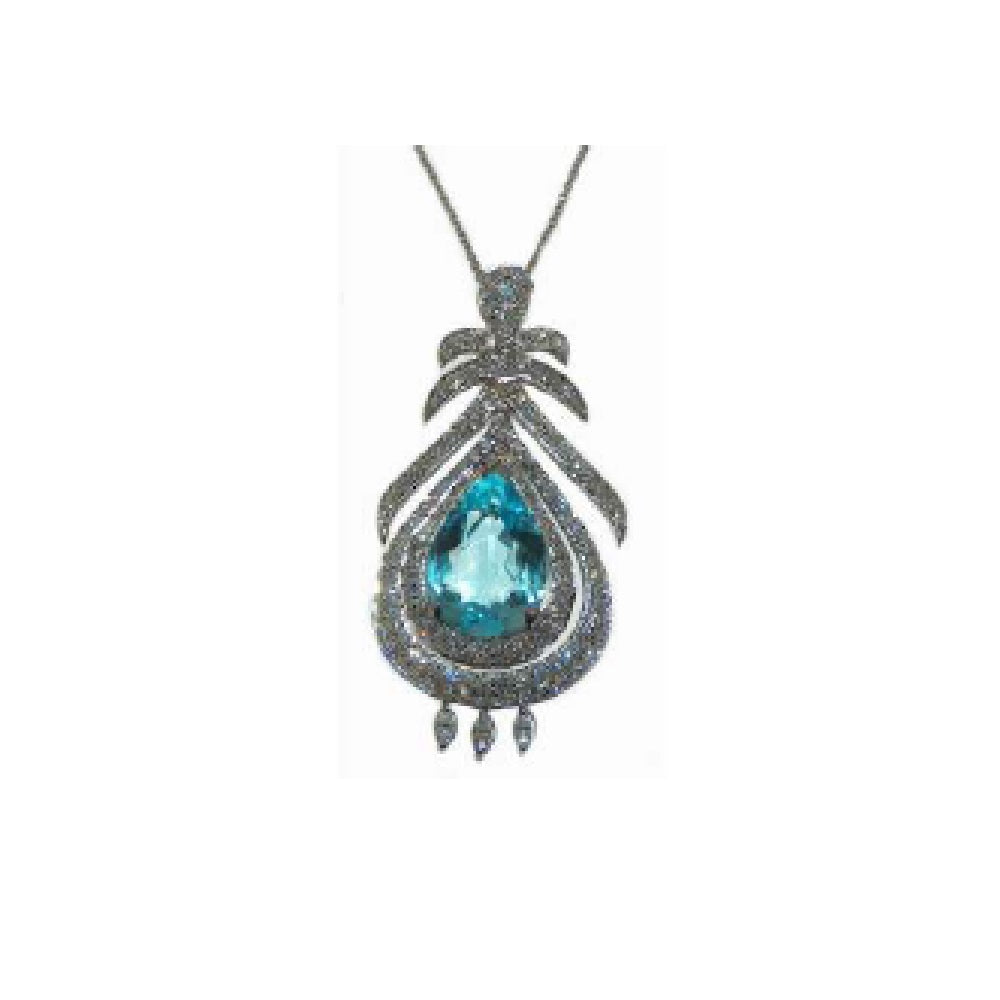 Paolo Piovan Necklace in White Gold with Diamonds and Light Blue Topaz - Made in Paradise Luxury