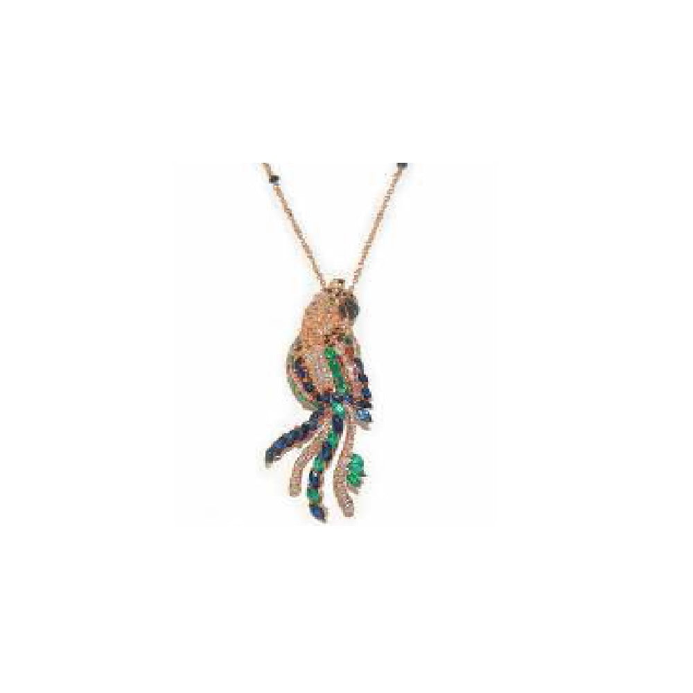 Paolo Piovan Parrot Necklace in Rose Gold with Diamonds, Emeralds and Sapphires - Made in Paradise Luxury