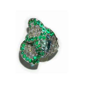 Paolo Piovan Diamond Ring in White Gold with Aquamarine and Emeralds - Made in Paradise Luxury