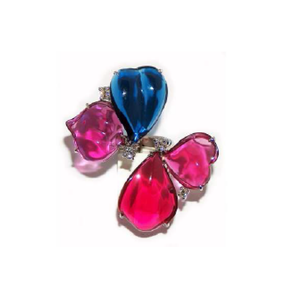 Paolo Piovan Clover White Gold Ring in Red and Blue Quartz - Made in Paradise Luxury