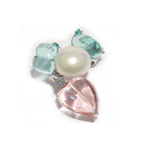 Paolo Piovan Flower White Gold Ring in Diamonds, Pearl, Pink and Light Blue Quartz - Made in Paradise Luxury