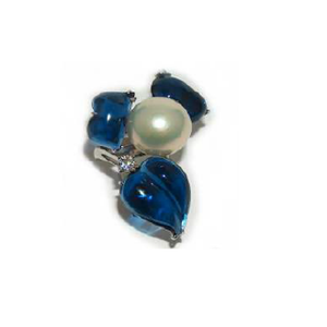 Paolo Piovan Flower White Gold Ring in Diamonds, Pearl and Blue Quartz - Made in Paradise Luxury