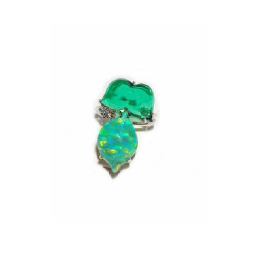 Paolo Piovan Flower White Gold Ring in Diamonds, Green Quartz and Green Opal - Made in Paradise Luxury
