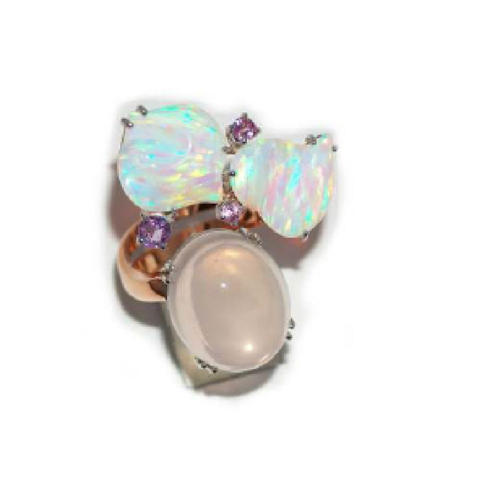 Paolo Piovan Flower Rose Gold Ring in Sapphires, White Opals and Pink Quartz - Made in Paradise Luxury