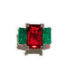 Paolo Piovan White Gold Ring in Diamonds, Emeralds (Douplet) and Rubelite (Douplet) - Made in Paradise Luxury