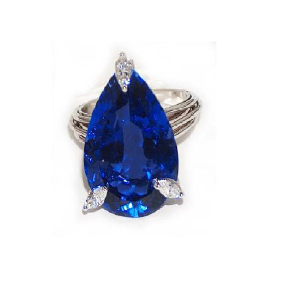 Paolo Piovan White Gold Ring in Diamonds and Tanzanite (natural douplet) - Made in Paradise Luxury