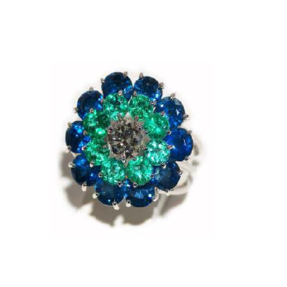 Paolo Piovan White Gold Ring in Natural Emeralds and Sapphires - Made in Paradise Luxury