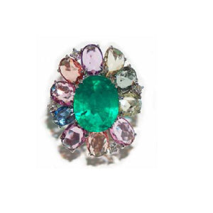 Paolo Piovan White Gold Ring in Sapphires and Emerald (Douplet) - Made in Paradise Luxury