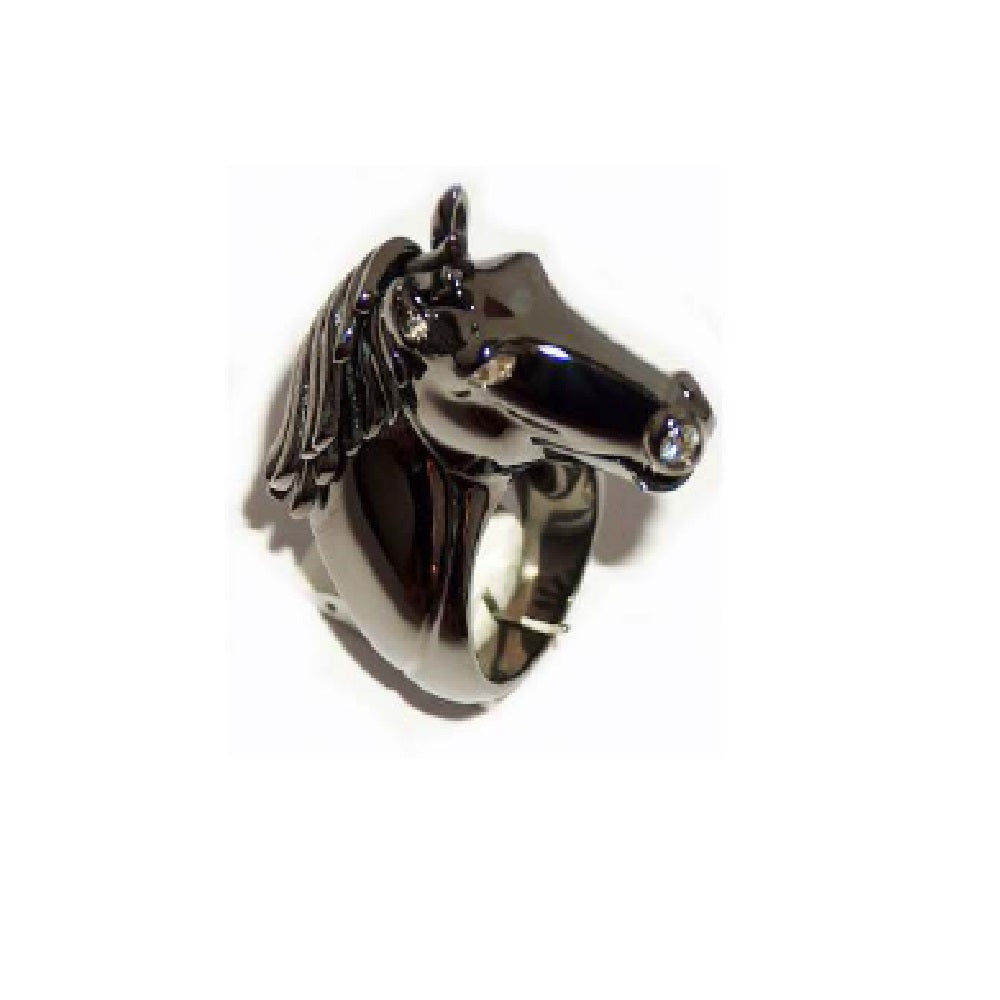Paolo Piovan Horse Ring in Black Rhodium Gold with Diamonds - Made in Paradise Luxury