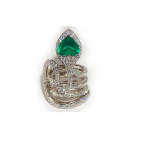 Paolo Piovan Snake Ring in White Gold with Diamonds and Natural Beryl (douplet) - Made in Paradise Luxury