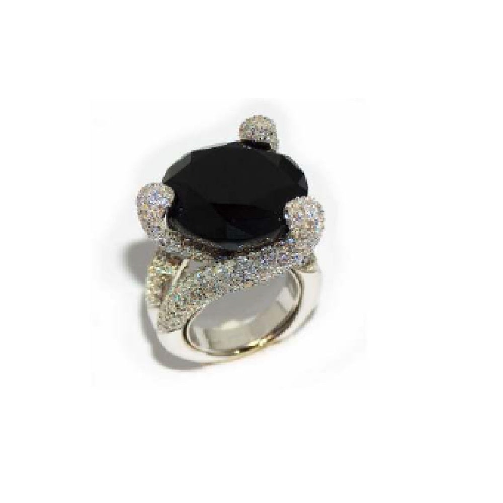Paolo Piovan Ring in White Gold with Diamonds and Onyx - Made in Paradise Luxury