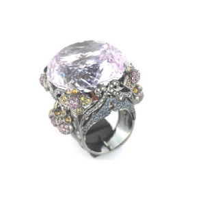Paolo Piovan Ring in White Gold with Diamonds, Kunzite and Sapphires - Made in Paradise Luxury