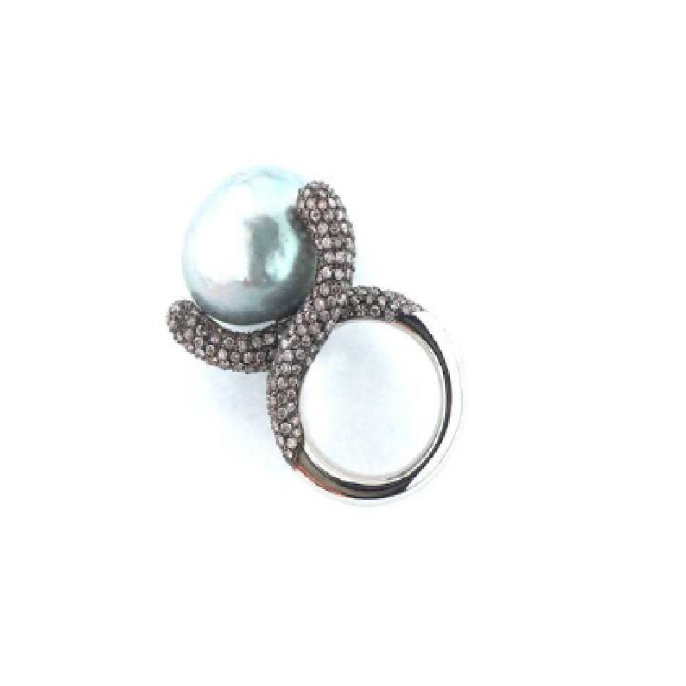Paolo Piovan Ring in White Gold with Diamonds and South Sea Pearl - Made in Paradise Luxury