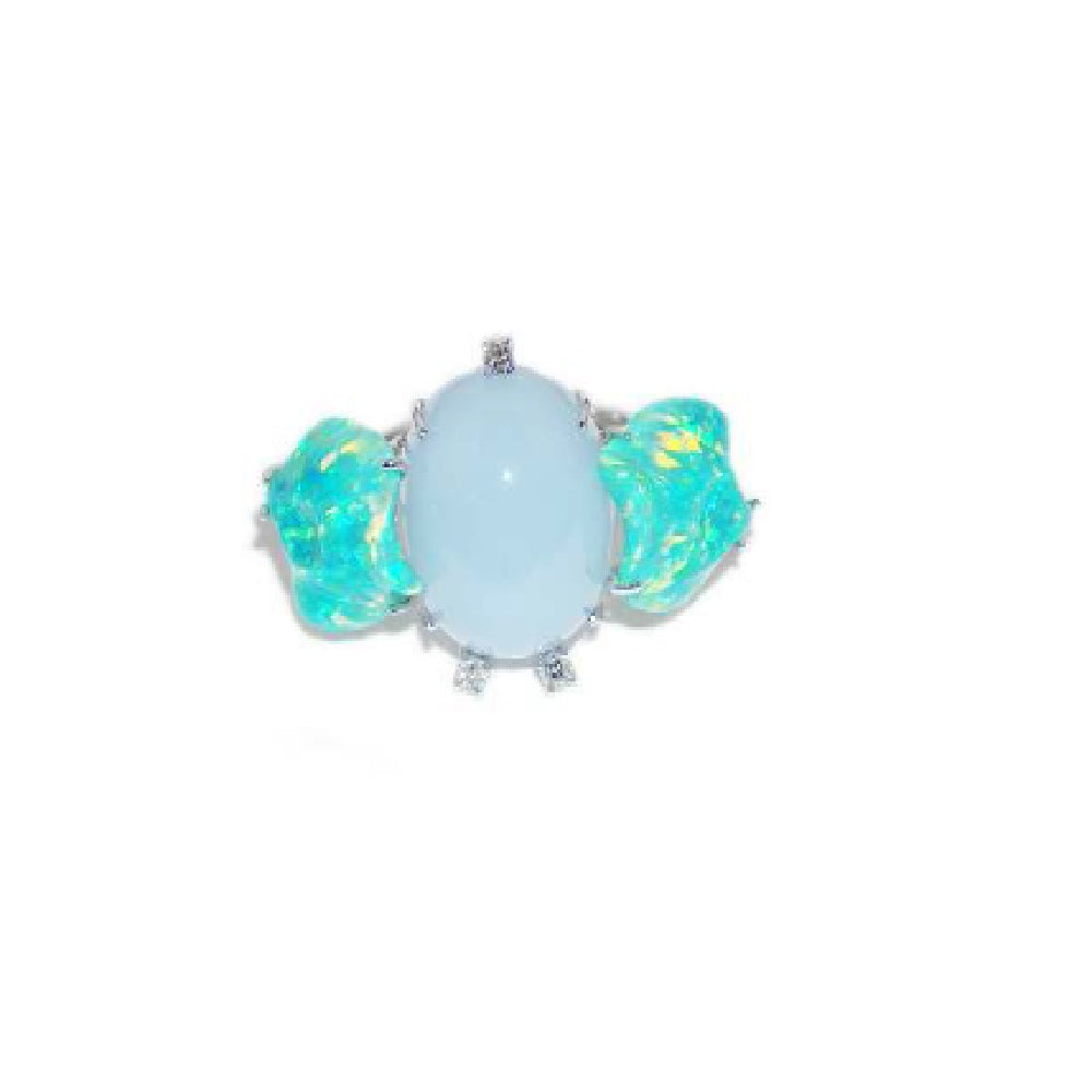 Paolo Piovan Ring in White Gold with Diamonds, Opals and Chalcedony - Made in Paradise Luxury