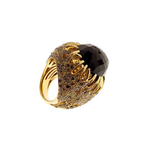 Paolo Piovan Ring in Yellow Gold with Fancy Diamonds and Tiger Eye - Made in Paradise Luxury