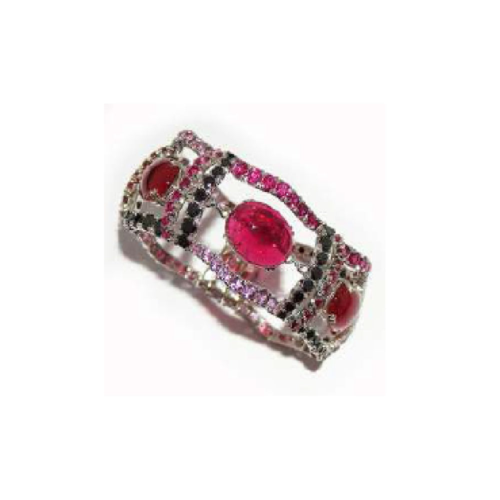 Paolo Piovan Bracelet in White Gold with Black Diamonds, Pink Sapphires, Rubies and Tourmalines - Made in Paradise Luxury