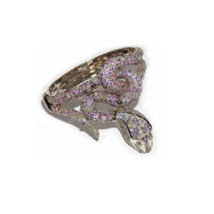 Paolo Piovan Snake Bangle in White Gold with Diamonds and Pink Sapphires - Made in Paradise Luxury