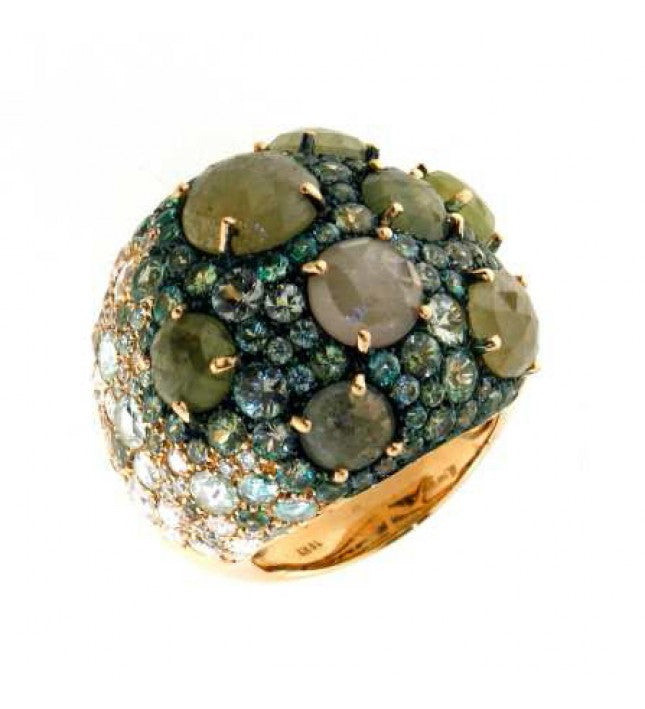 Verdi Gioielli 18K Rose Gold Green Sapphires and Green Agate Ring - Made in Paradise Luxury