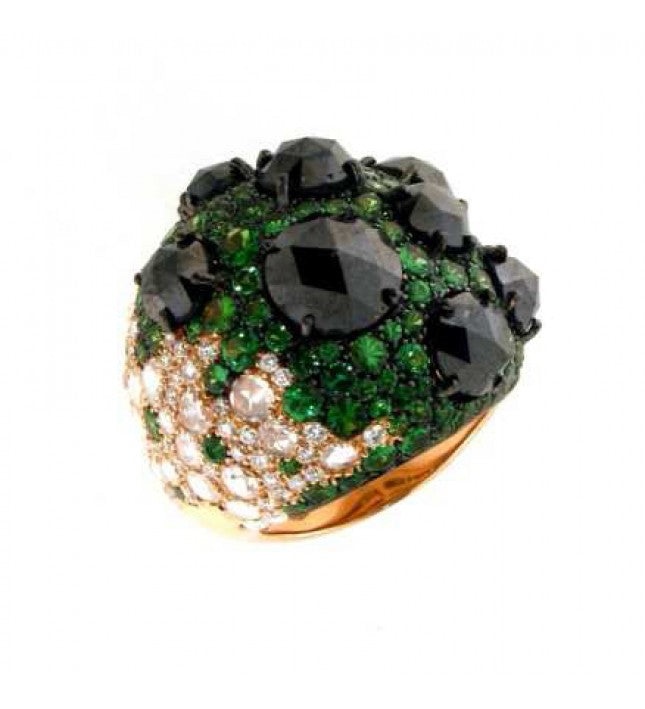 Verdi Gioielli 18K Rose Gold Diamonds Green Sapphires and Black Diamonds Ring - Made in Paradise Luxury