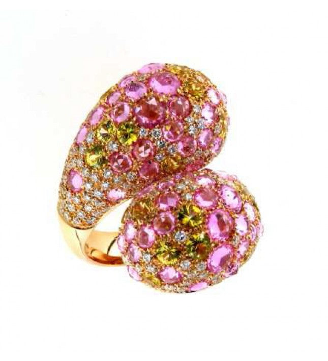 Verdi Gioielli 18K Rose Gold with Pink and Yellow Sapphires Diamond Ring - Made in Paradise Luxury