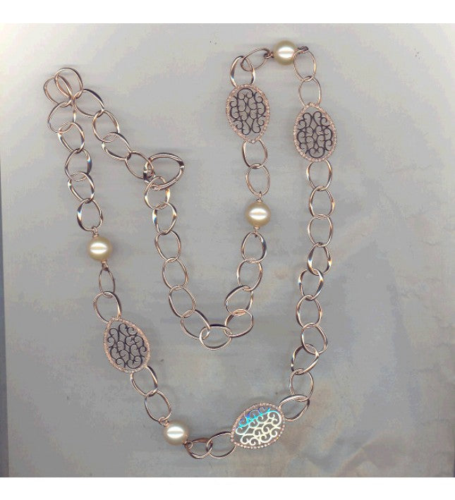 Piero Milano 18K Rose Gold Diamonds Pearl Necklace - Made in Paradise Luxury