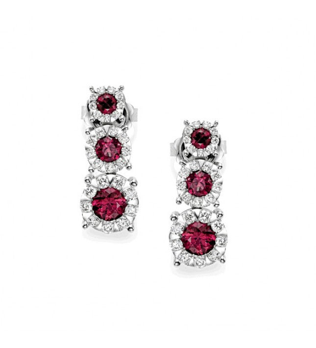Piero Milano 18K White Gold Diamonds Rubies Earrings - Made in Paradise Luxury